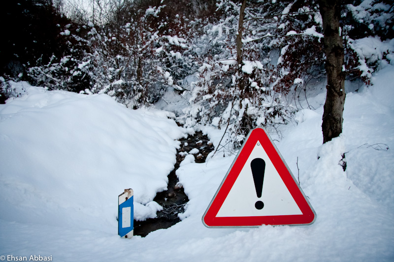 Caution sign in snow