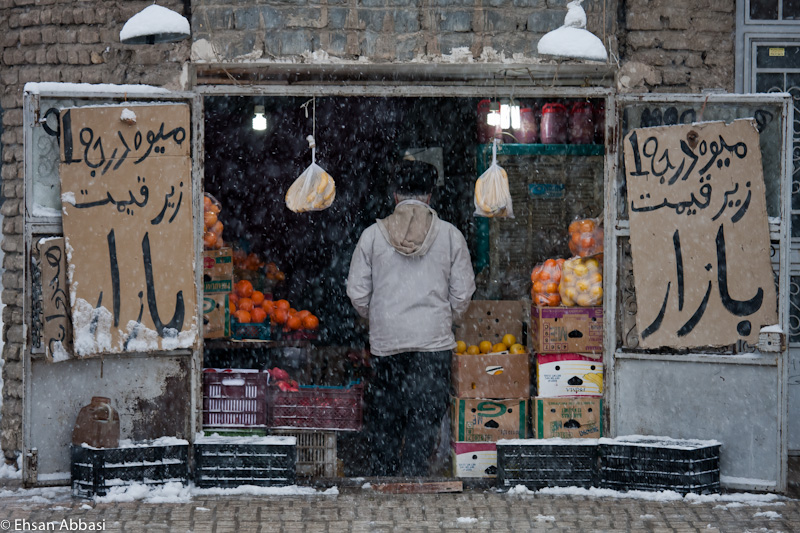 A grocery in a snowy day