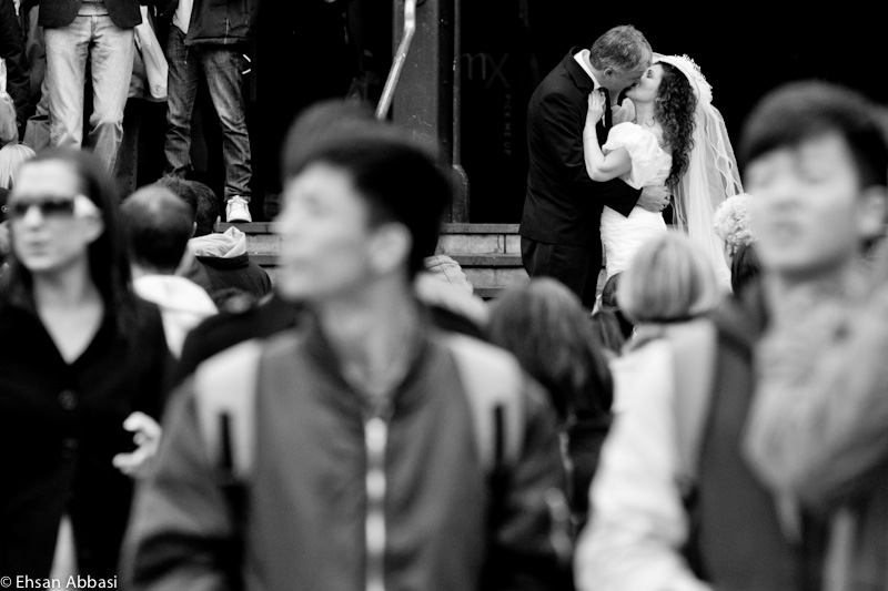 Bride and Groom Kissing at Flinders Street Station